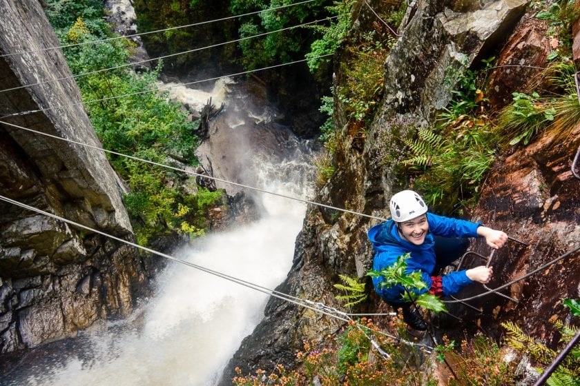 Via Ferrata climbing in Kinlochleven near Glencoe.
