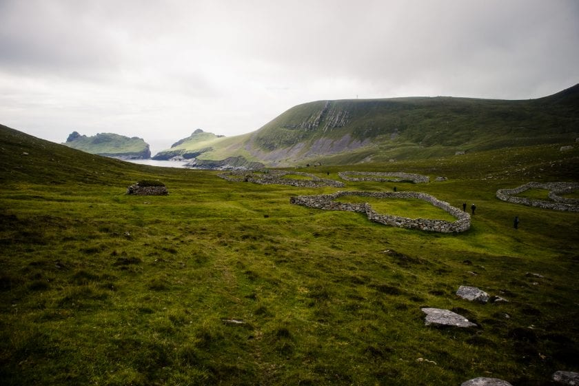 View over the village ruins and main bay of St Kilda