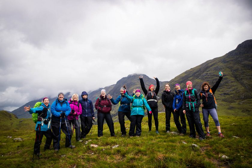 A group of woman hiking in the Scottish Highlands