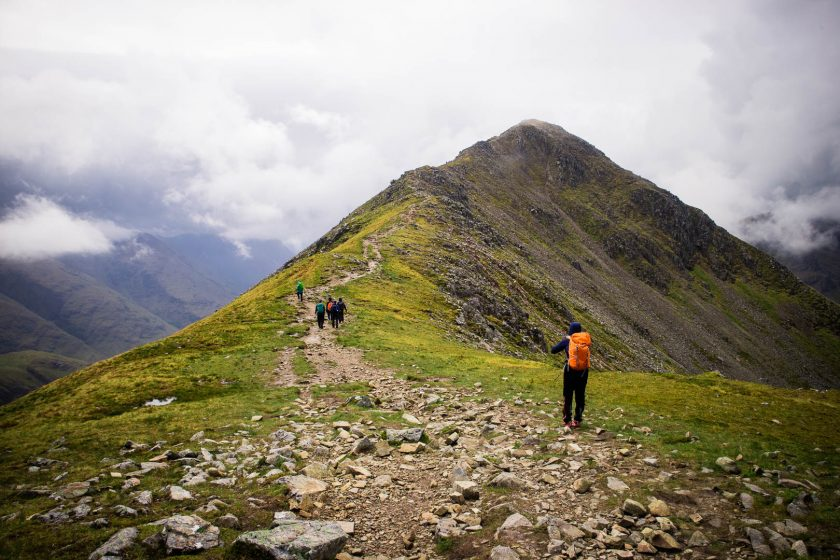 Women hiking in Scottish mountains