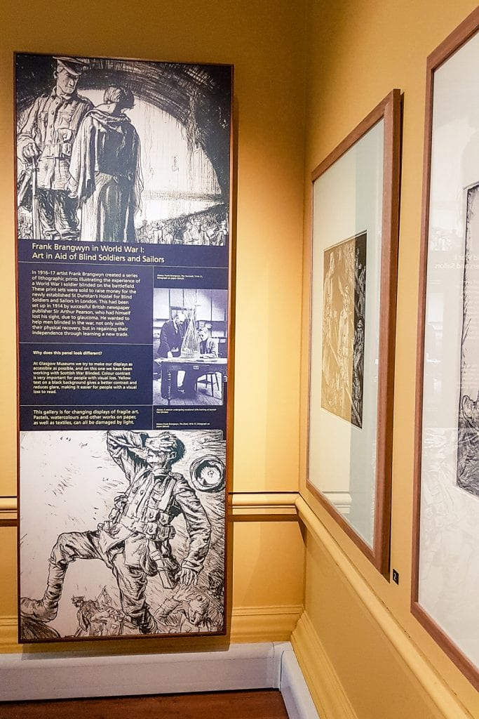 """Frank Brangwyn's lithographs entitled """"Art in Aid of Blind Soldiers and Sailors"""" at Kelvingrove Museum in Glasgow."""