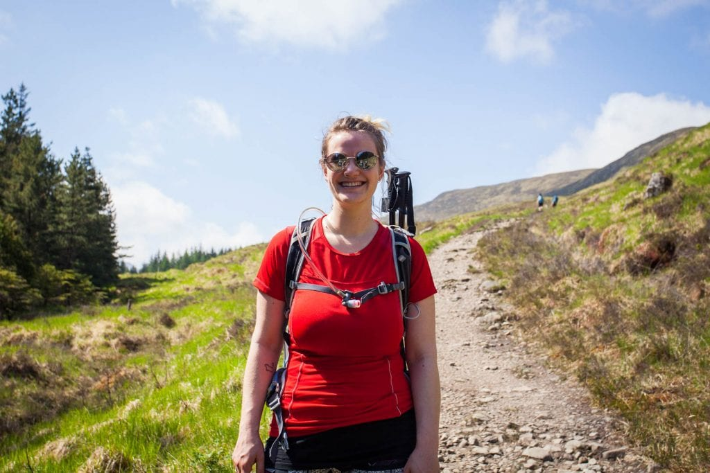 A typical hiking outfit in Scotland includes a breathable top, quick dry bottoms, a comfortable backpack, proper hiking boots and a few layers to add when it's cold or wet.