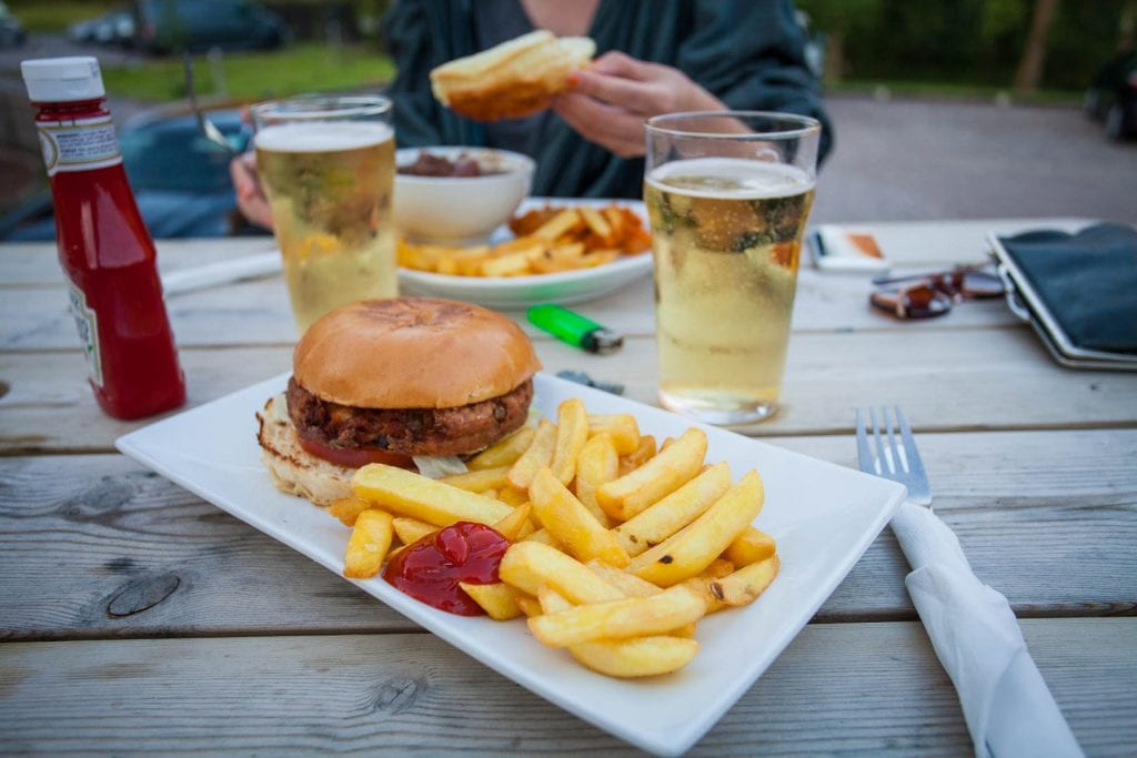 Vegan burger and chips at the Clachaig Inn in Scotland.