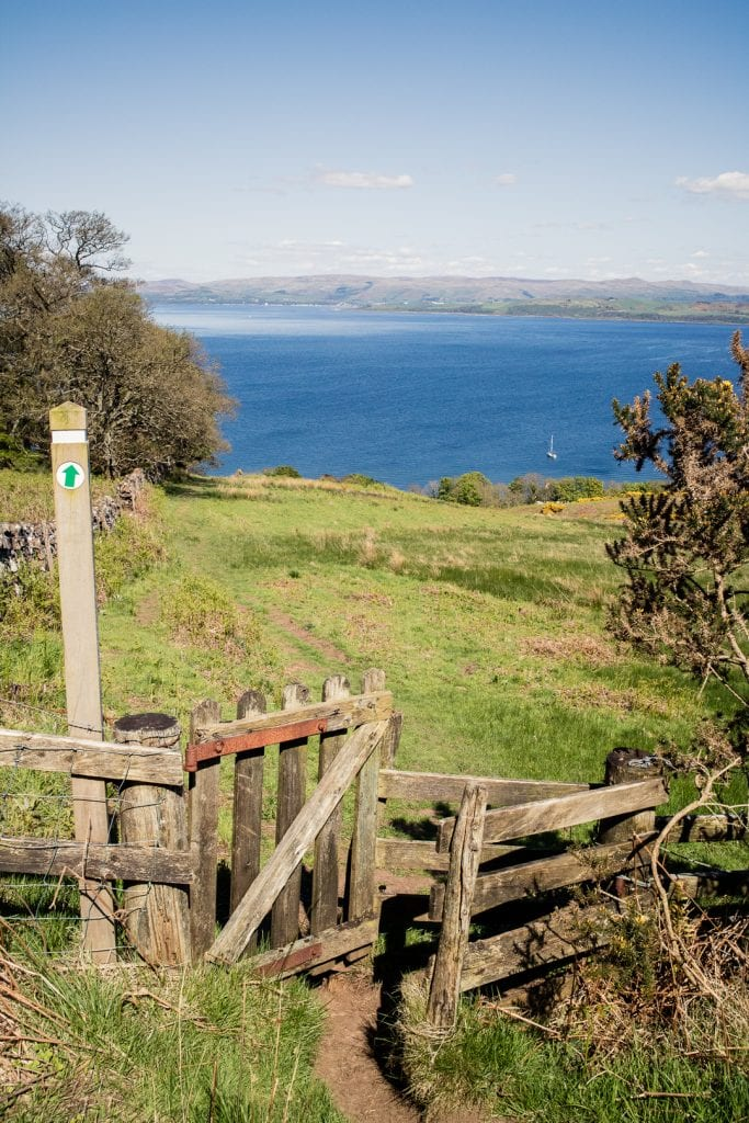 A kissing gate by Kilchattan Bay on the West Island Way.