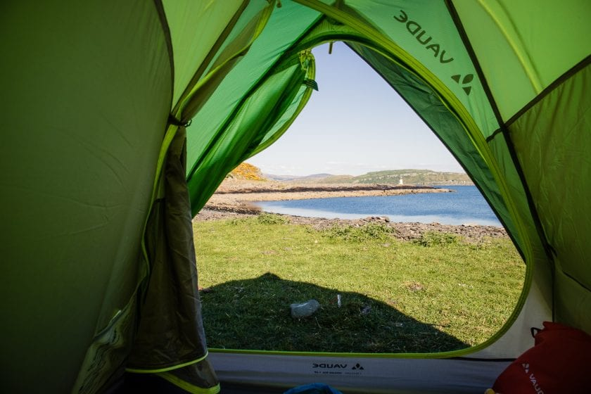 The view from my tent at Glencallum Bay on the Isle of Bute.