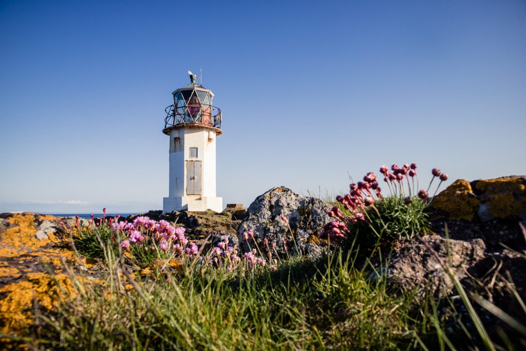 The lighthouse at Glencallum Bay is en route of the Kilchattan Bay loop trail.