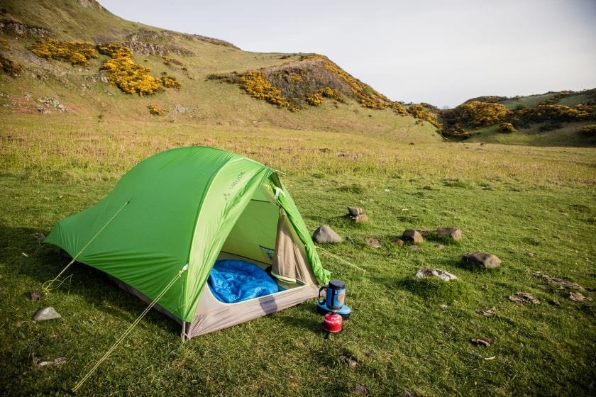Wild camping on the Isle of Bute in Scotland