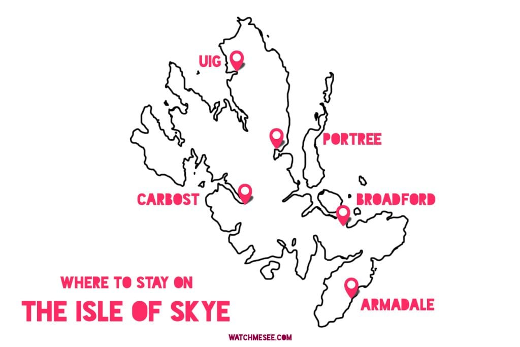 Where to stay on the Isle of Skye map overview