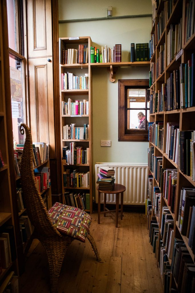 Bookshelves in a book shop in Wigtown in South Scotland.