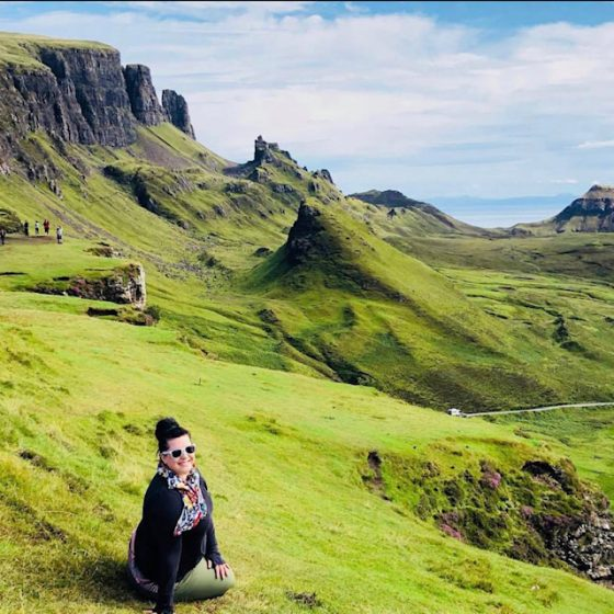 Image of author Sara Bublitz on the mountains on the Isle of Skye