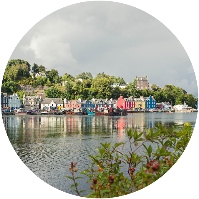 the colourful waterfront of tobermory in scotland