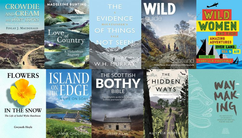 collage of 10 book covers of scottish adventure books